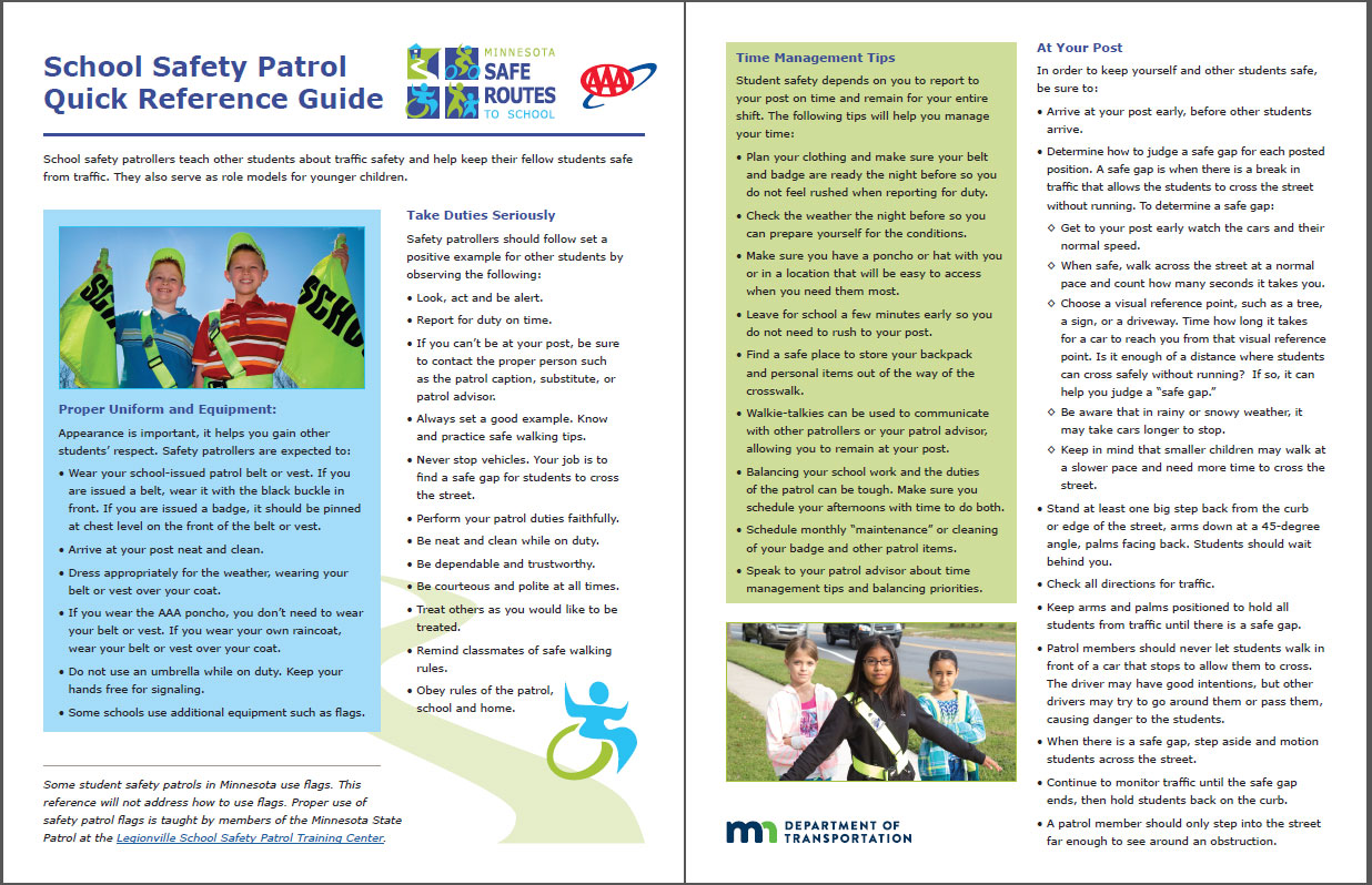 Image of School Safety Patrol Quick Reference