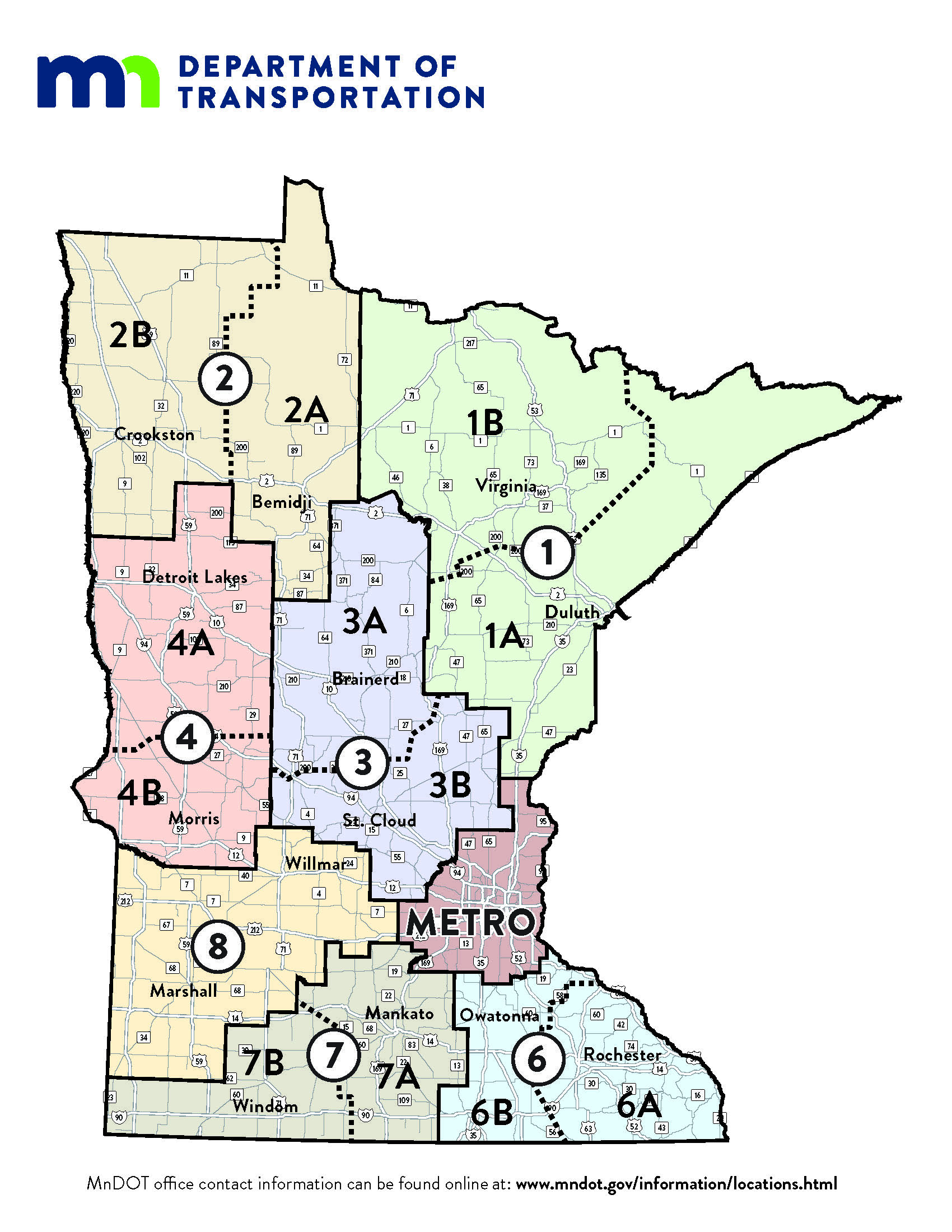 MnDOT districts and the trunk highway system