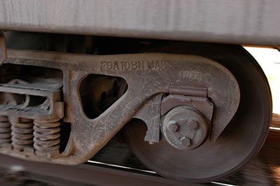 Close-up of rail car wheel