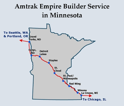 empire builder service routes in minnesota map amtrak currently provides passenger rail