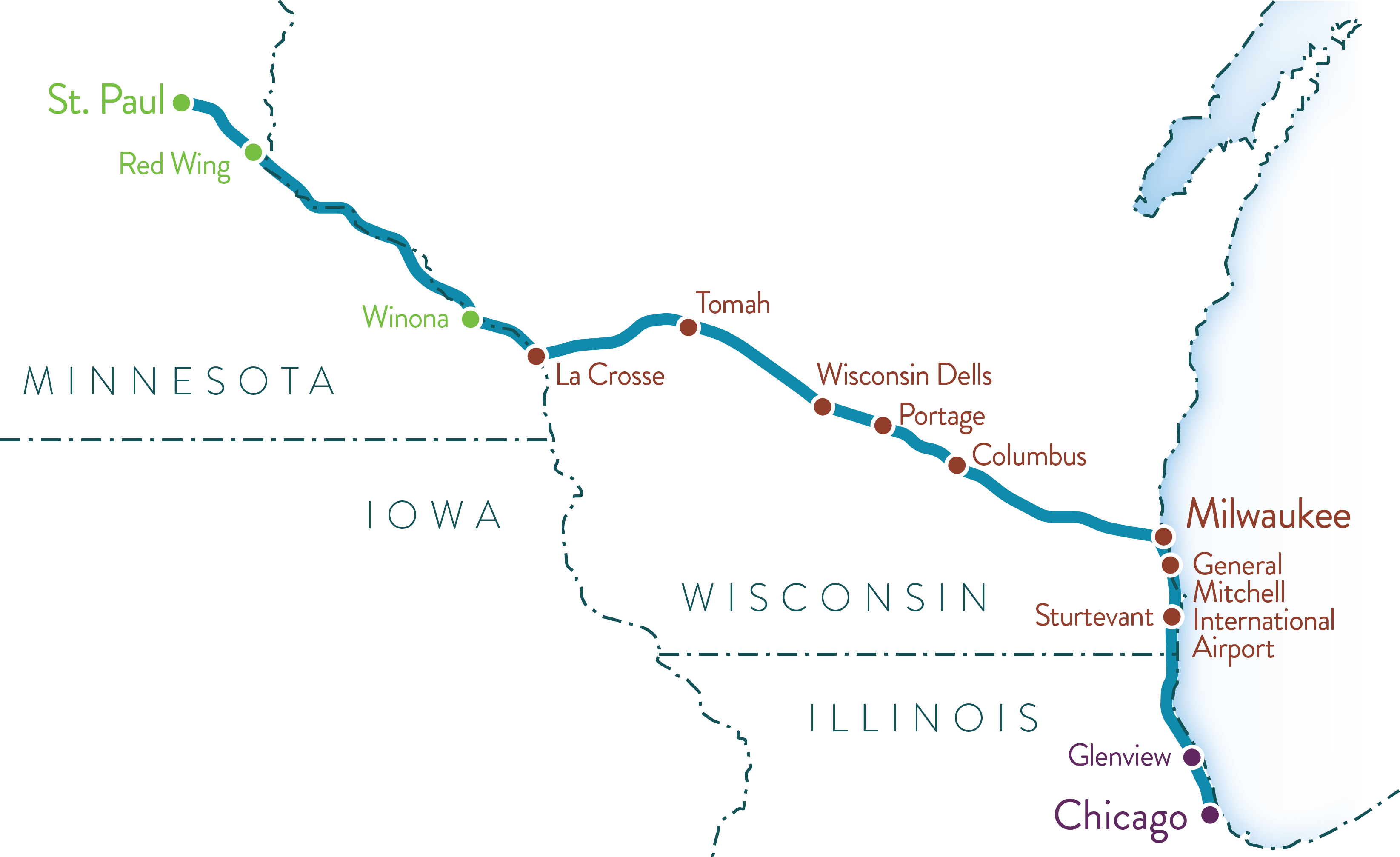 Map of potential Twin Cities-Milwaukee-Chicago intercity passenger rail service (formerly referred to as 2nd Train).