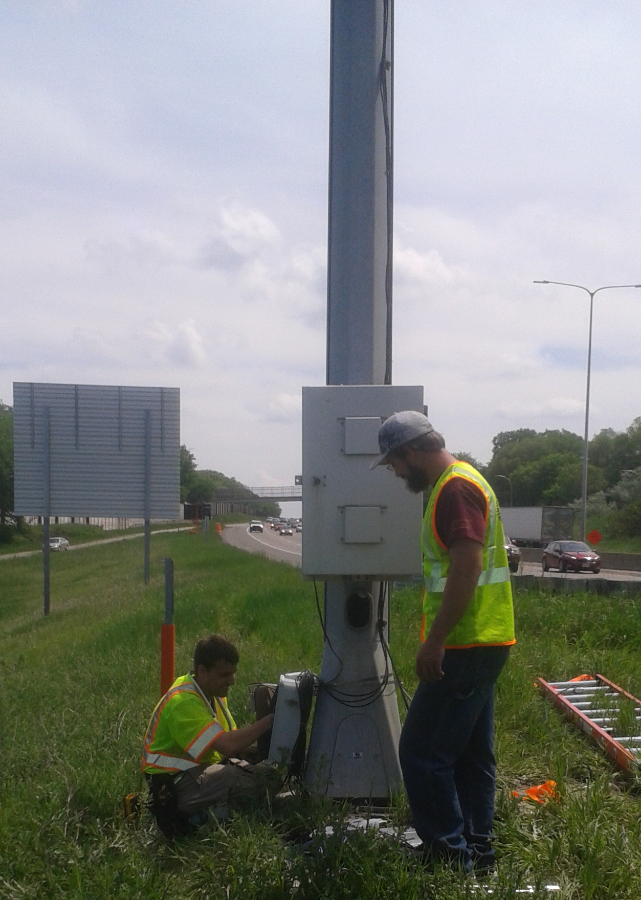 Speed detection sensors were installed on poles every half-mile through a new highway construction work zone.