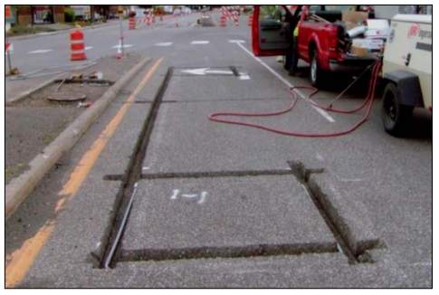 Loop detectors are installed in the pavement and incorporated into the system through complex electrical connections. Traffic flow data is collected every 30 seconds and sent to the RTMC.