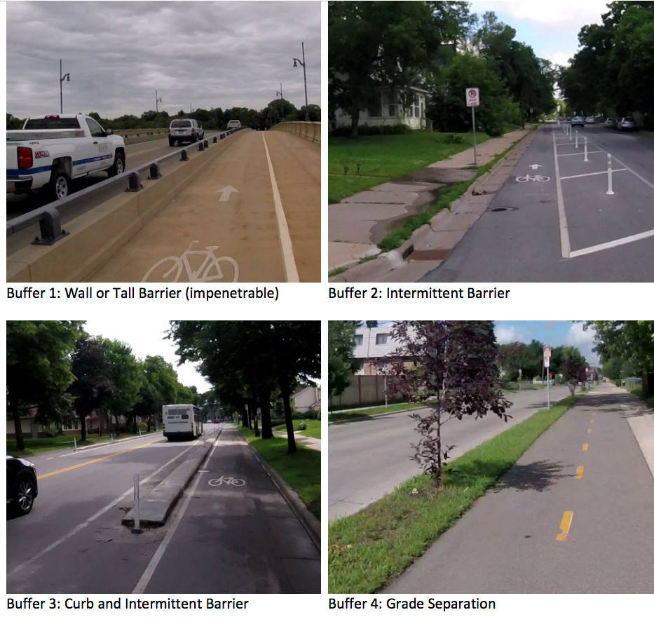 Four photographs show different bike land designs along roadways: a lane with (clockwise, from left) a low metal bar barrier, intermittent flexible posts, a raised curb and a lane that is completely separate from the roadway.
