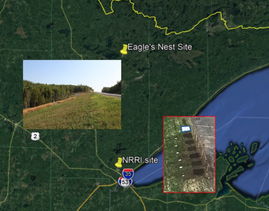 A map of northeastern Minnesota includes locations and photographs of the project's two bioslopes one large bioslope installation along highway 169 at Eagles Nest and a set of bioslope test plots at the National Resources Research Institute at the University of Minnesota Duluth. A western portion of Lake Superior is visible.