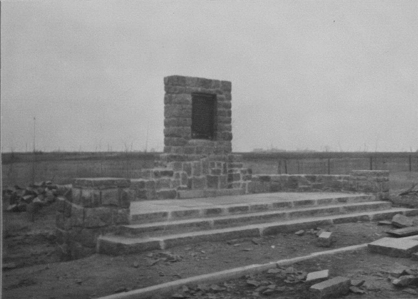 Historic photo by Olson from 1940. The marker was nearly complete.
