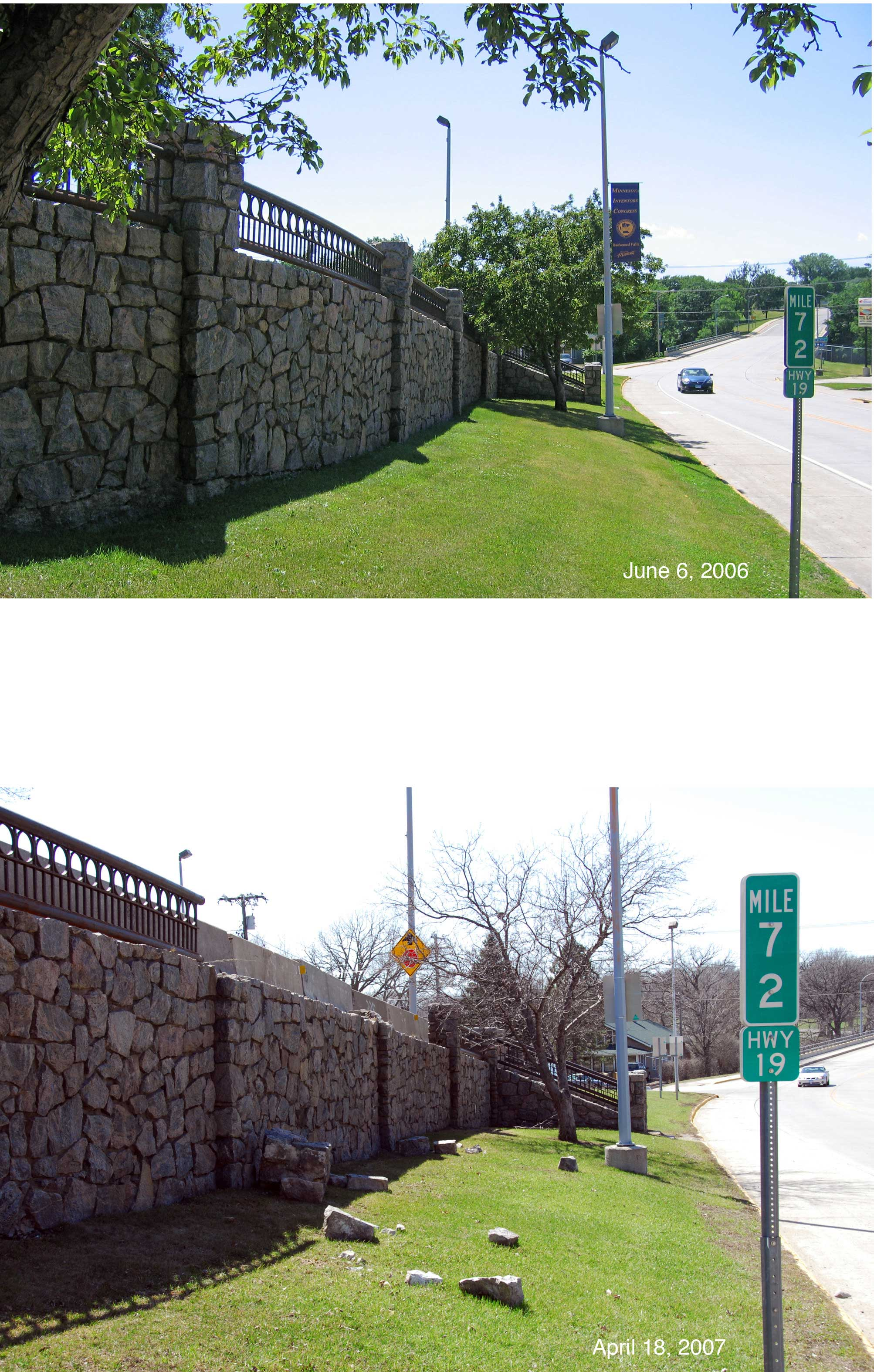 The historic Redwood Falls Retaining Wall in 2006, a year before sustaining its first commercial vehicle-related accident.